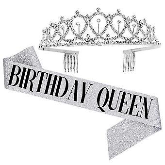Women Girl Happy Birthday Shoulder Sash Crystal Crown Party Headband Set
