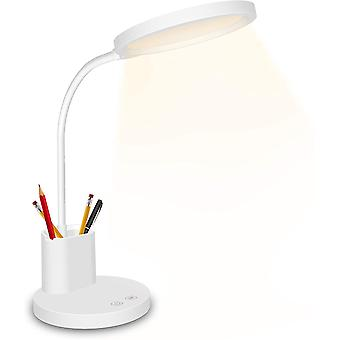 Led Desk Lamp,touch Control Desk Lamp 3 Color Modes With Stepless Dimmable,360flexible Desk Lamp With Usb Charging Port Pen Holder