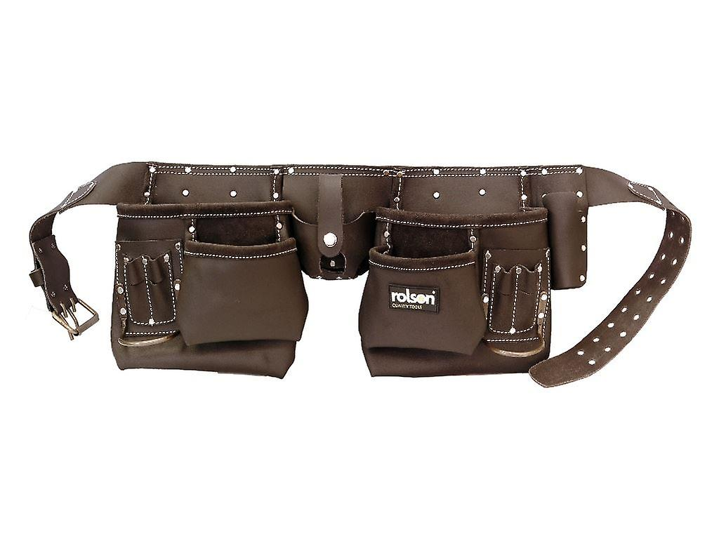 Heavy Duty 10 Pocket Professional Oil Tanned Leather Work Tool Belt Pouch