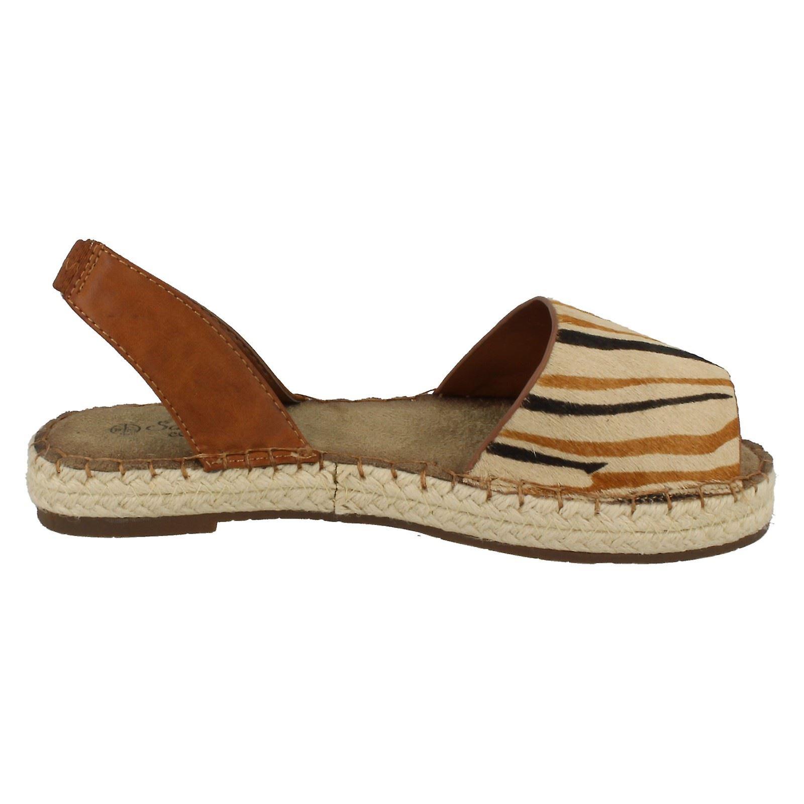 Ladies Open Toe Savannah Espadrille Sling retour à motifs sandale F0841