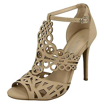 Ladies Anne Michelle Cut Out Detail Open Toe High Heels