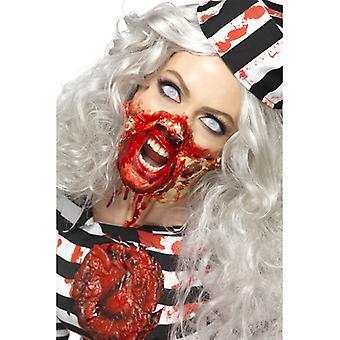 Maquiagem de látex líquida conjunto zumbi morto 4 cores com espátula vermelho preto branco bege