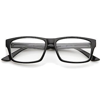 Modern Horn Rimmed Clear Lens Rectangle Eyeglasses 52mm