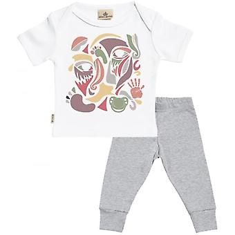 Spoilt Rotten Mixed Colour Collage Baby T-Shirt & Baby Jersey Trousers Outfit Set