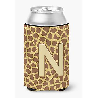 Letter N Initial Monogram - Giraffe Can or Bottle Beverage Insulator Hugger