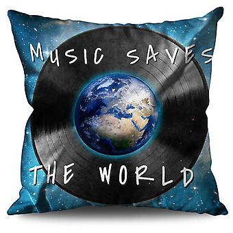 Save World Quote Music Linen Cushion 30cm x 30cm | Wellcoda