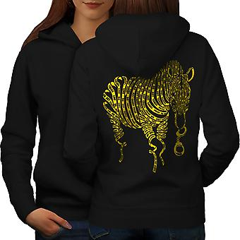 Zebra Tape Art Cop Animal Women BlackHoodie Back | Wellcoda