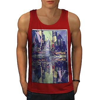 Square Time New York Men RedTank Top | Wellcoda