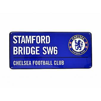 Chelsea FC officiella fotboll färgad metall vägskylt