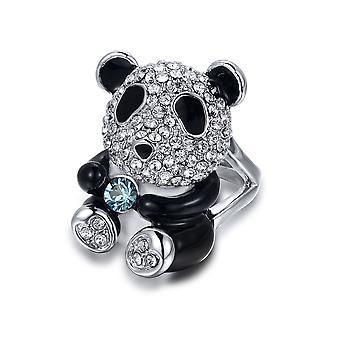 Bague Panda orné de cristaux de Swarovski Blanc et Noir - T56 2750