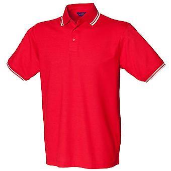 Henbury Pique Polo Shirts met Contrast kantelen
