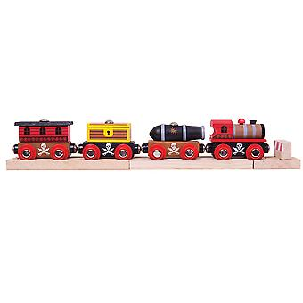 Bigjigs Rail Wooden Pirate Train Engine Locomotive Carriage Playset Compatible