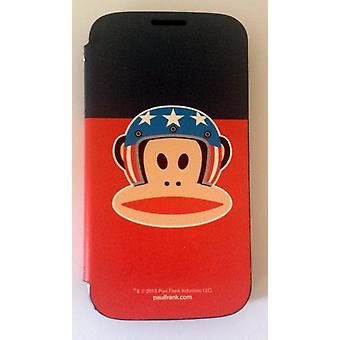 Ursprungliga Paul Frank ® Flip case täcka konstläder för Samsung Galaxy S4 / LTE med design hjälm blå