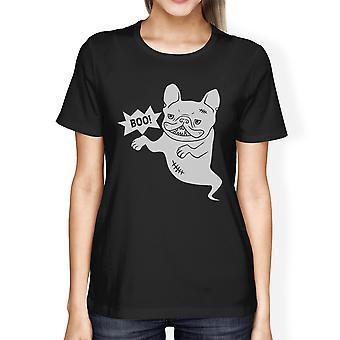 Boo Bulldog franska Womens svart rund hals roliga Halloween Tshirt