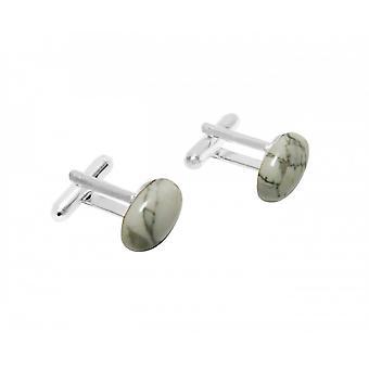 Herren - Manschettenknöpfe – 925 Silber – Howlit – Weiß – Grau – 16 mm