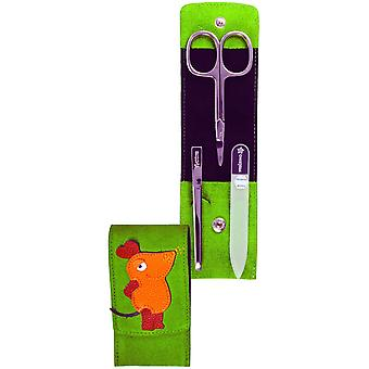 Baby manicure case the mouse arrow ring suede green manicure set for babies
