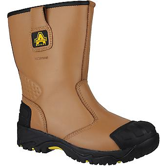 Amblers Safety Mens FS143 Leather Waterproof Safety Rigger Boots Brown