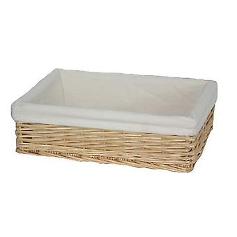 Large Lined Straight-Sided Rectangular Wicker Tray
