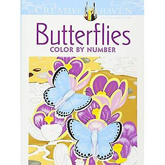 Kreativa oas fjärilar färg med nummer målarbok (kreativa oas målarböcker)