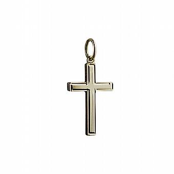 18ct Gold 20x13mm engine turned lined border solid block Cross