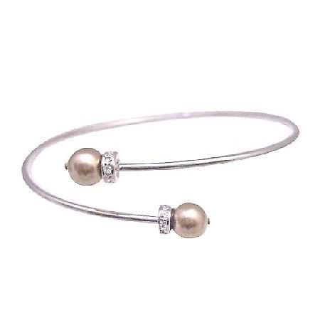 Prom Bronze Dress Jewelry Flower Girl Swarovski Bronze Pearls Bracelet