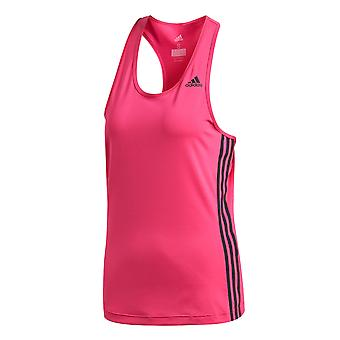 adidas D2M 3-Stripe Womens Ladies Fitness Running Vest Tank Magenta