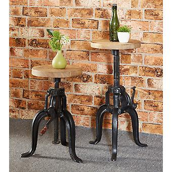 Maison Industrial Metal & Wood Small Crank Table