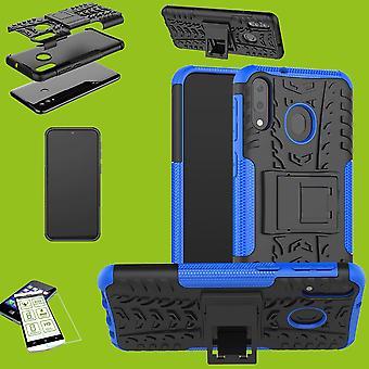 Für Huawei P30 Lite Hybrid Case 2teilig Blau + Hartglas Tasche Hülle Cover Etuis