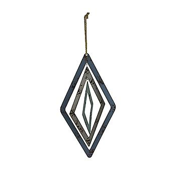Blauw en grijs uitsparing Metal 3D Diamond Shaped wind spinner decoratie