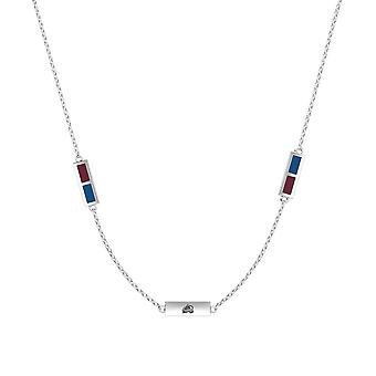 Colorado Avalanche Sterling Silver Engraved Triple Station Necklace In Red and Blue