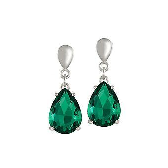 Eternal Collection Seduction Teardrop Emerald Green Crystal Silver Tone Drop Clip On Earrings