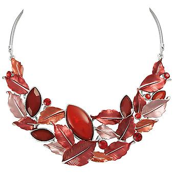 Eternal Collection Vitality Fire Red Enamel And Crystal Silver Tone Statement Necklace
