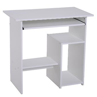 HOMCOM Compact Small Computer Table Wooden Desk Keyboard Tray Storage Shelf Modern Corner Table Home Office White