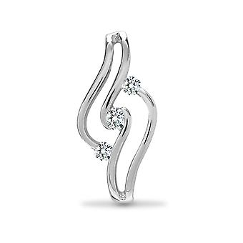 Jewelco London Solid 18ct White Gold Tension Set Round G SI1 0.16ct Diamond Trilogy Waves Trilogy Pendant