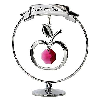 "Crystocraft Chrome Plated ""Thank You Teacher"" Mobile Ornament Made With Swarovski Crystals SP191"