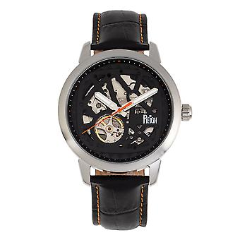 Reign Rudolf Automatic Skeleton Leather-Band Watch - Silver/Orange
