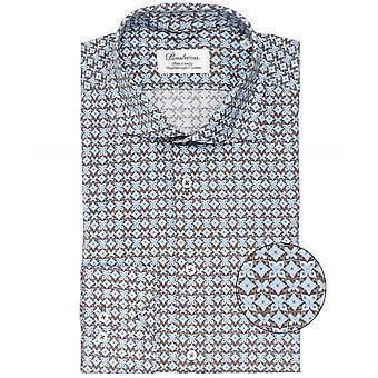 Stenstroms Fitted Body Geometric Print Shirt