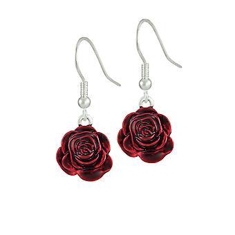 Ewige Sammlung rot rot Rose Emaille Silber Ton Blume Tropfen durchbohrt Ohrringe