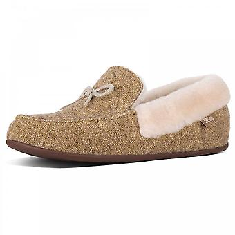 Fitflop™ Clara™  Glimmerwool Moccasin Slippers Gold
