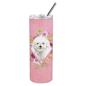 Bichon Frise roze bloemen dubbelwandige roestvrijstaal 20 oz mager tuimelaar