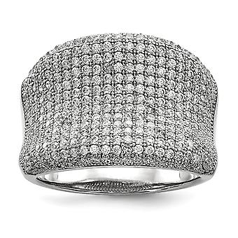 925 Sterling Silver Pave Rhodium plated and CZ Cubic Zirconia Simulated Diamond Fancy Polished Ring Jewelry Gifts for Wo