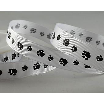 20m White 16mm Wide Paw Print Grosgrain Ribbon for Crafts