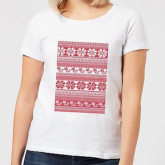Floral Knitted Pattern Women's T-Shirt - White