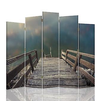 Divisor de habitación decorativa, 5 paneles, doble cara, lienzo giratorio, 360, Steps Water