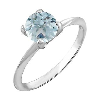 Dazzlingrock Collection 14K 6mm Round Cut Aquamarine Solitaire Bridal Engagement Ring, White Gold