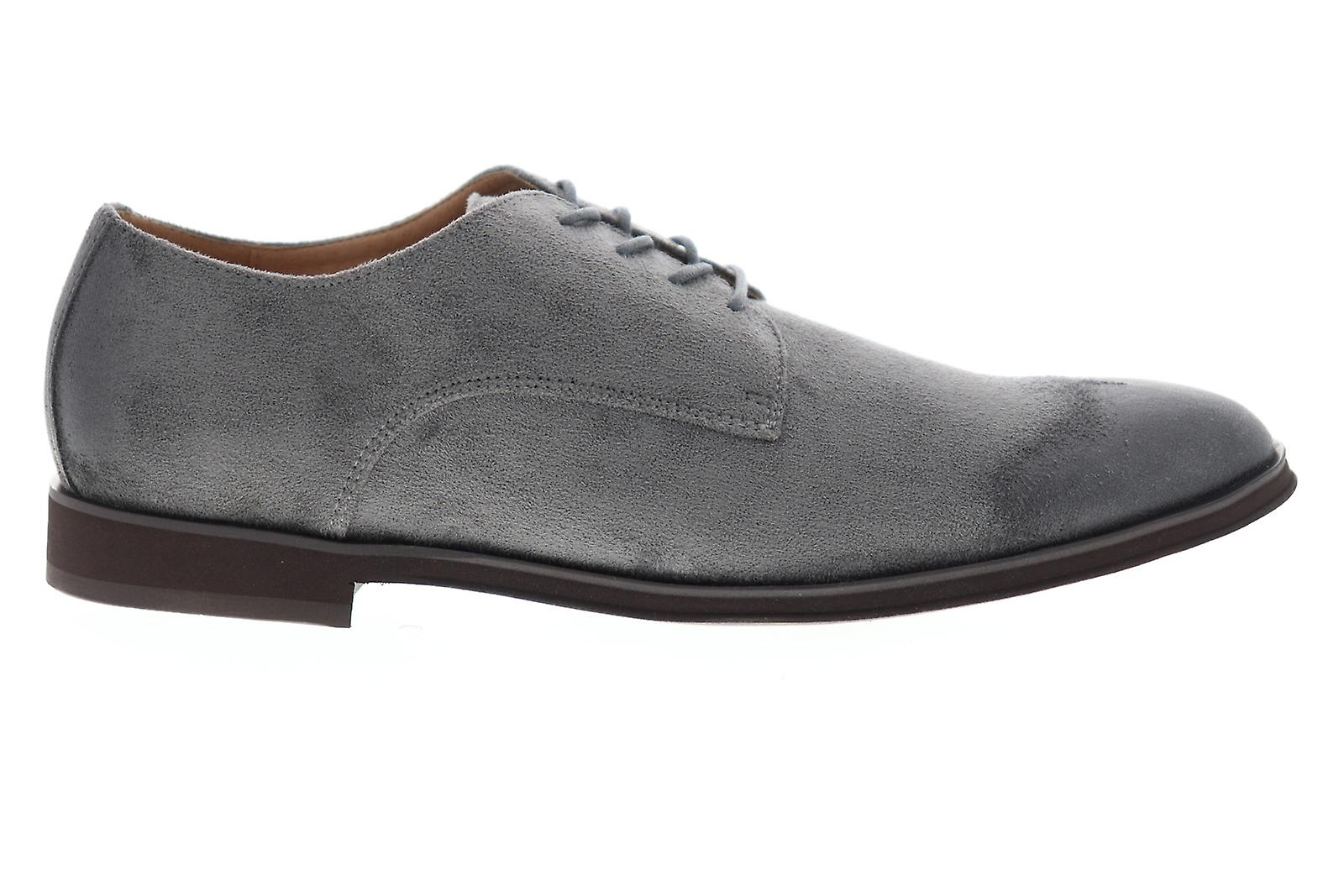 Steve Madden Mens Gray Suede Casual Lace Up Oxfords Sko