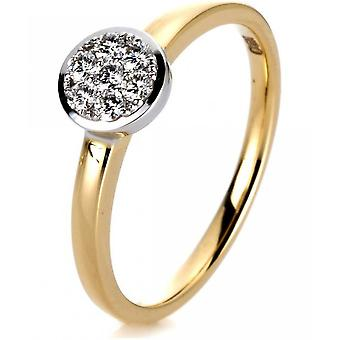 Diamond Ring Ring-14K 585 geel goud-wit goud-0,13 CT.