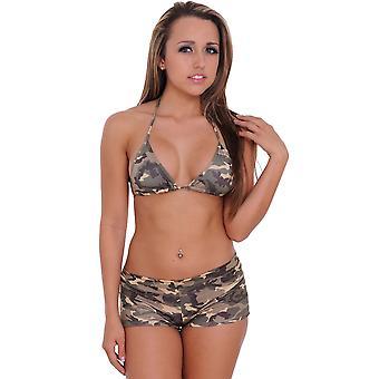Women's Camo Bikini Halter Top & Shorts 2-Piece