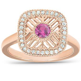 1/2 CT Rose guld 14k Ruby vintage højre ring