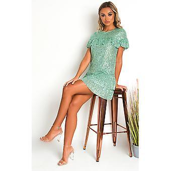 IKRUSH النساء ليلى Sequin الطبقات تي شيرت فستان صغير